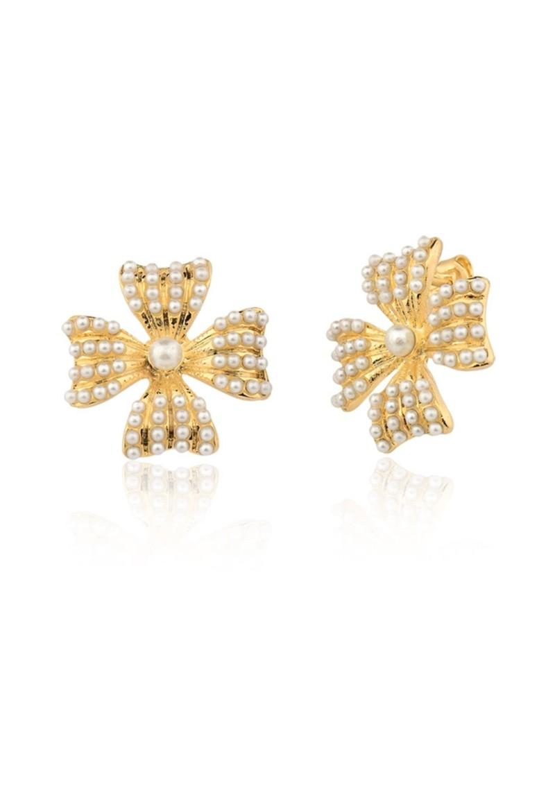 Brinco Le Diamond Trevo com Mini Pérolas Dourado