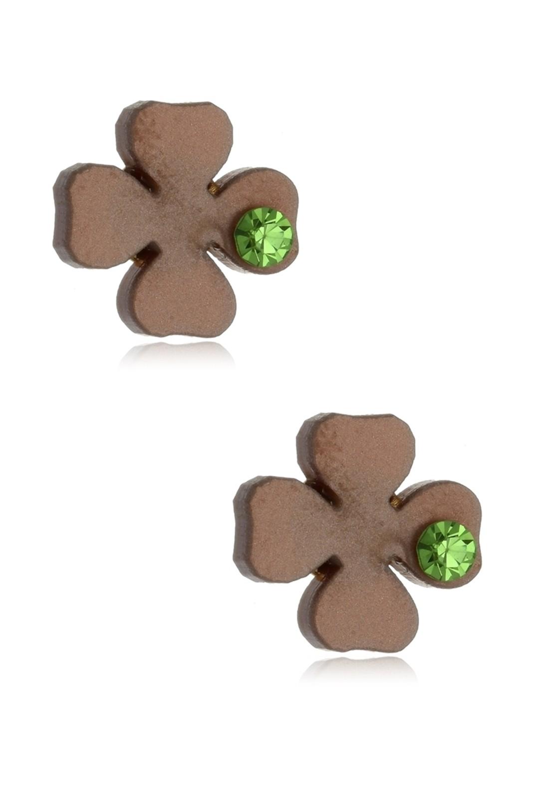 Brinco Le Diamond Trevo com Ponto de Luz Verde