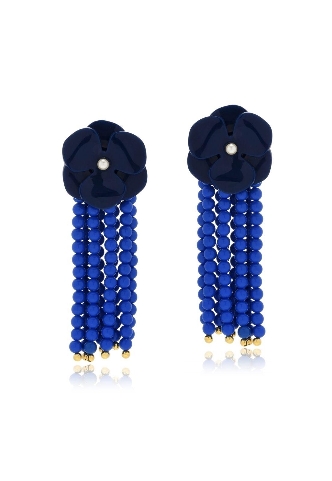 Brinco Le Diamond Véria Flor com Miolo de Pérola e Franja Azul