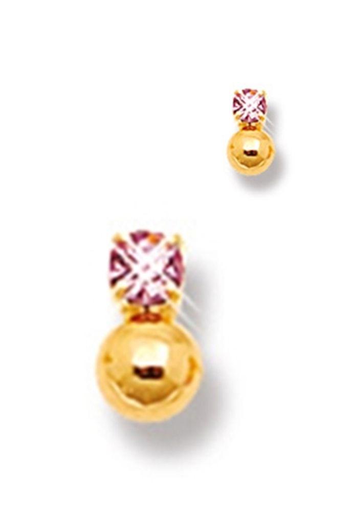 Brinco Le Diamond Zircônia Rosa e Esfera Dourada