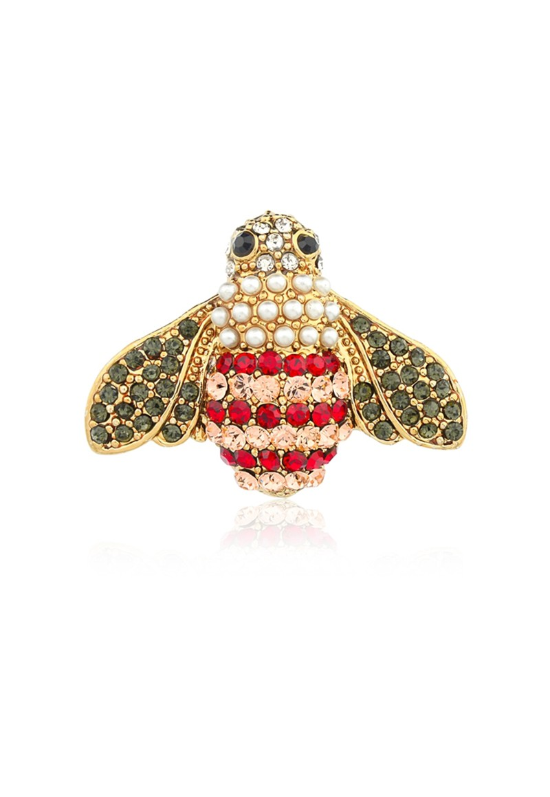 Broche Le Diamond Abelha  com Cristais e Pérolas Dourado