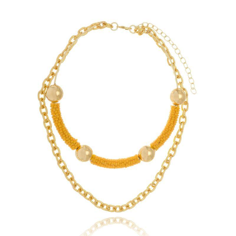 Choker Le Diamond De Miçangas Amarelo com Corrente Dourada
