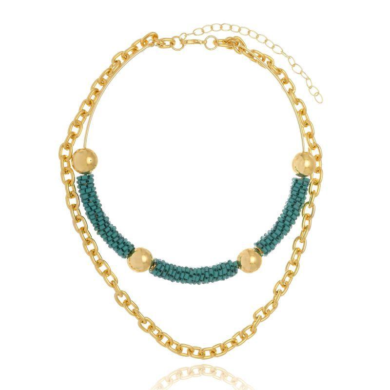 Choker Le Diamond De Miçangas Verde Com Corrente Dourada
