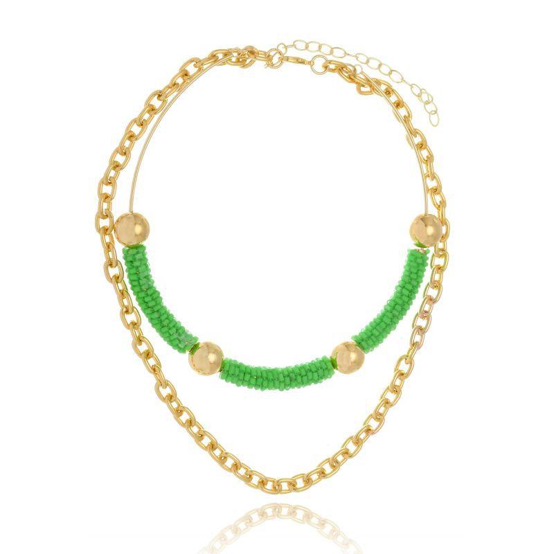 Choker Le Diamond De Miçangas Verde Fluorescente Com Corrente Dourada