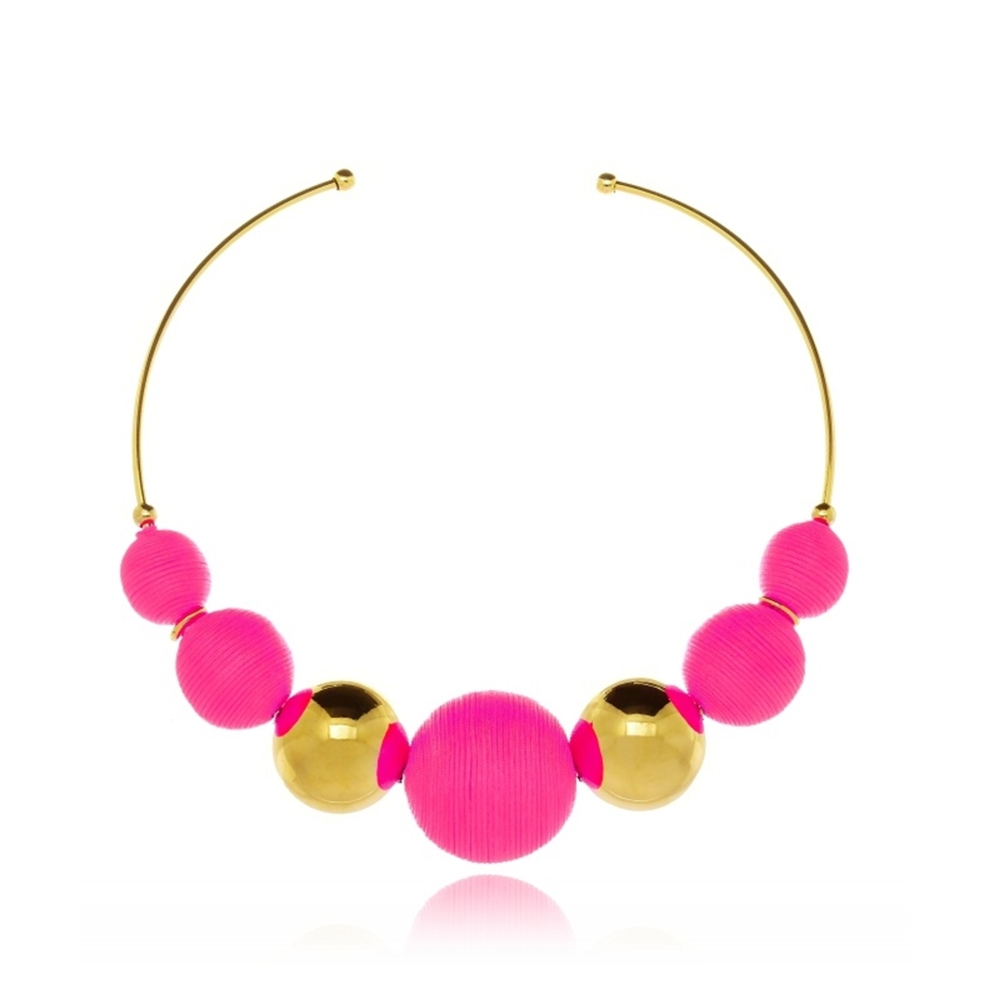 Choker Le Diamond Fios de Seda Pink