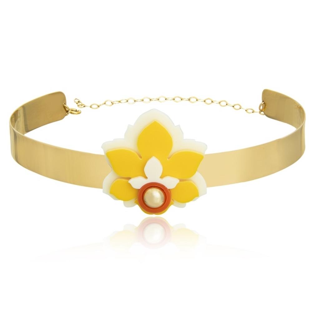 Choker Le Diamond Flor Amarela