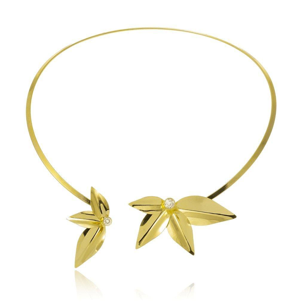 Choker Le Diamond Floral Dourada