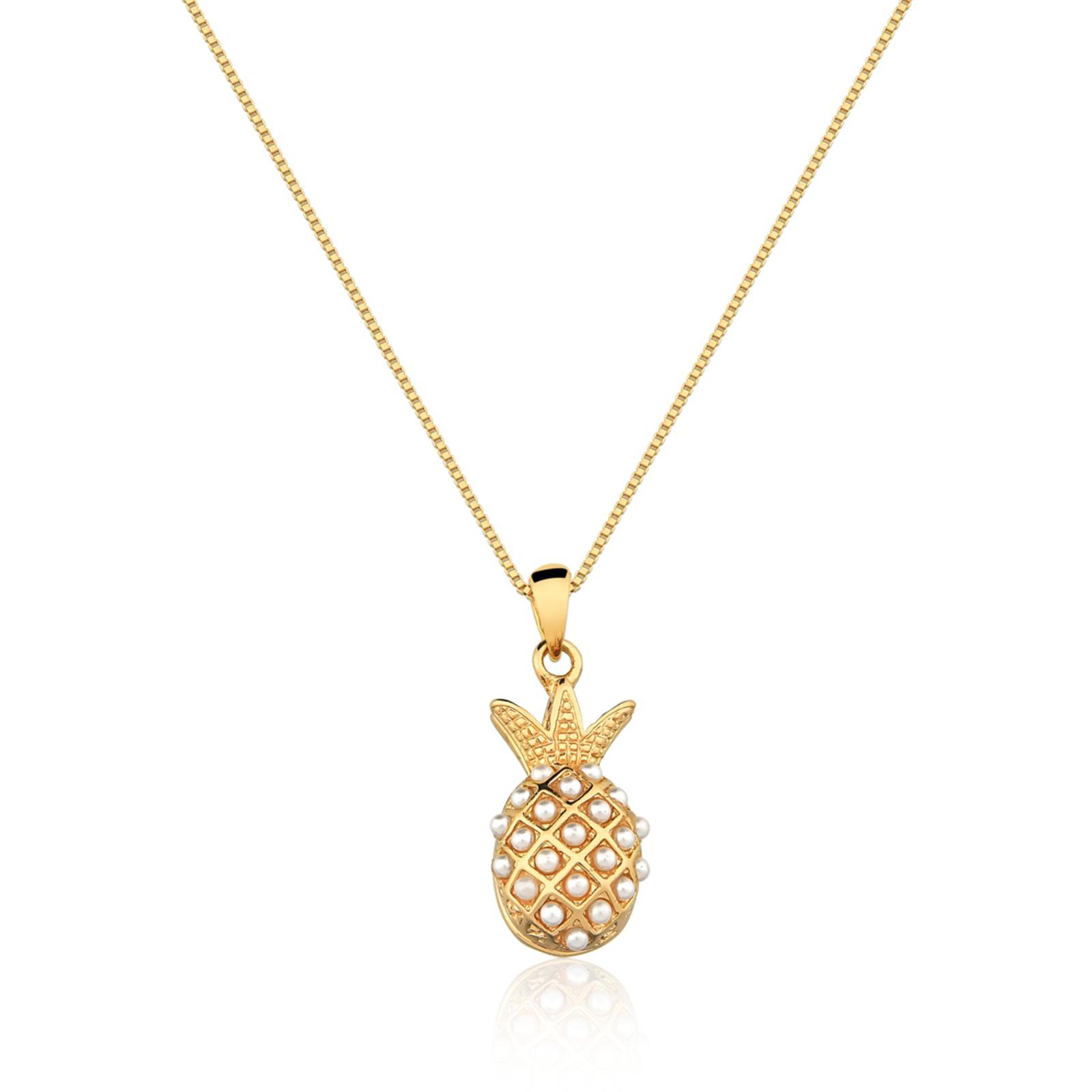 Colar Le Diamond Abacaxi com Mini Pérolas Dourado