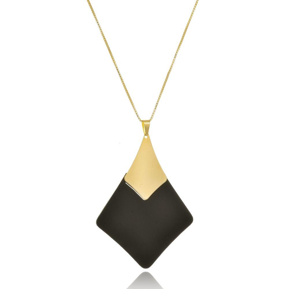 Colar Le Diamond Acrílico Geométrico Preto