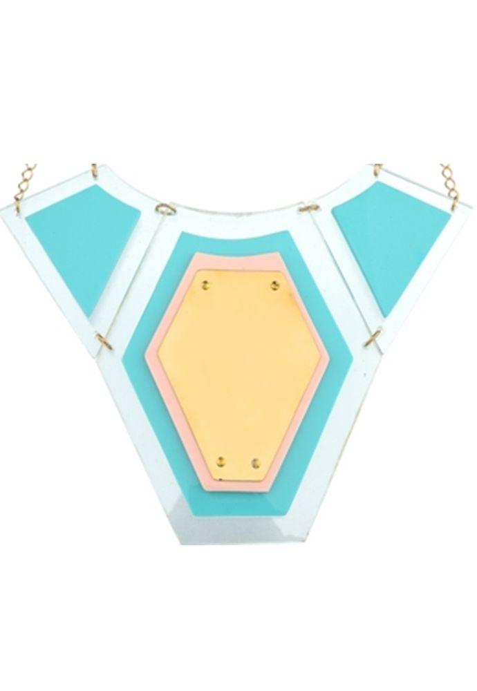 Colar Le Diamond  Acrilico Turquesa Azul
