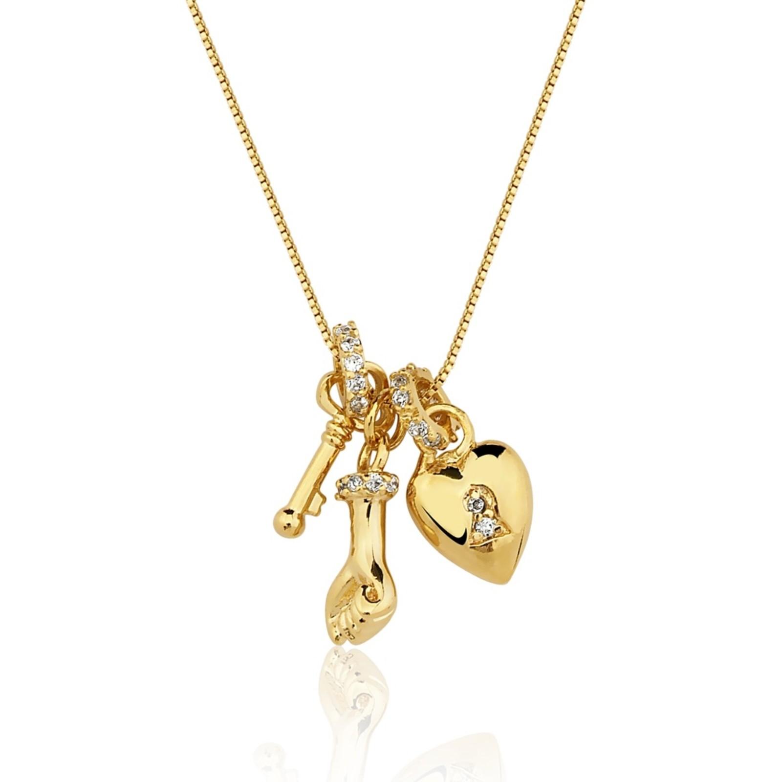 Colar Le Diamond Amuleto Do Amor Dourado