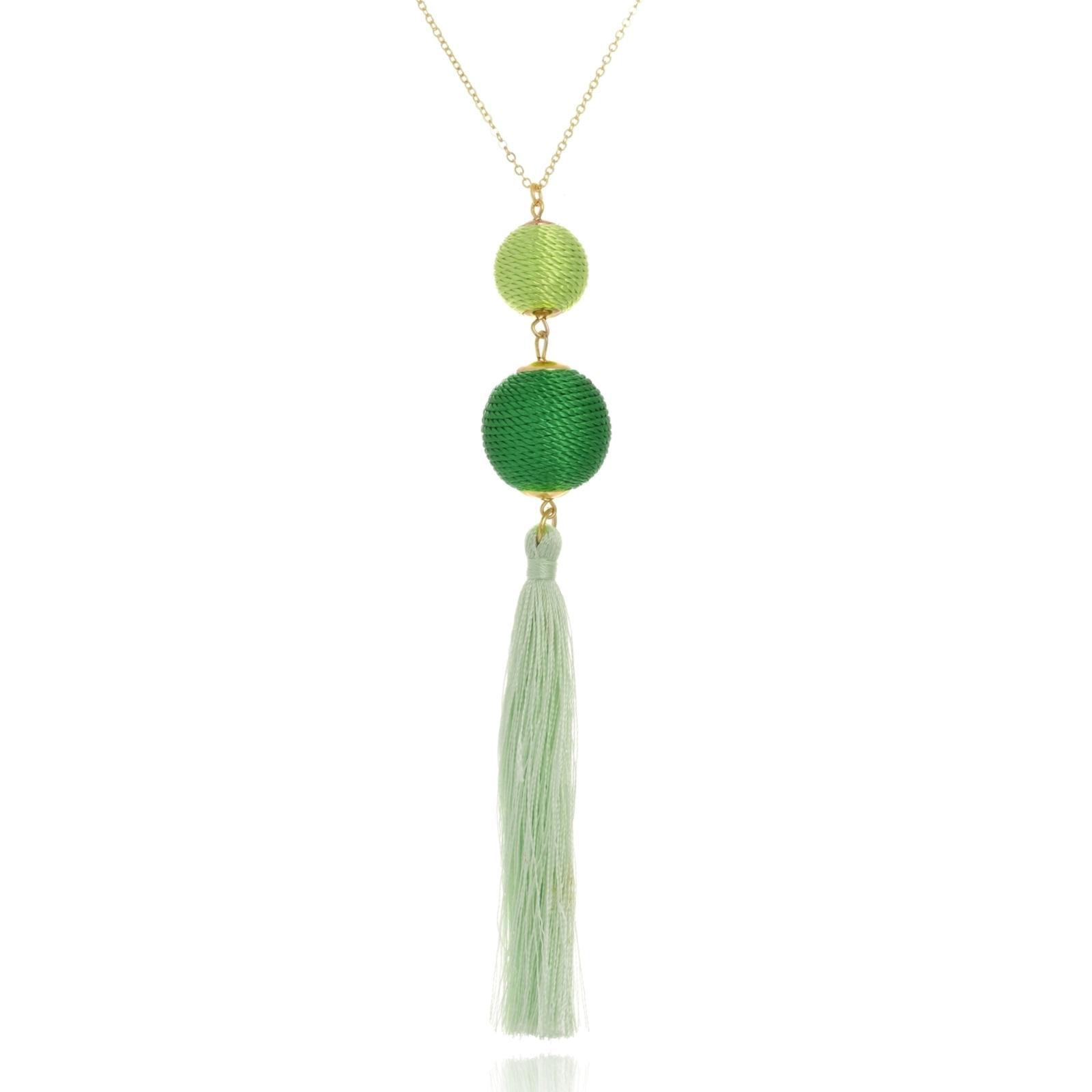 Colar Le Diamond Bolas em Fios de Seda Com  Franjas Verde
