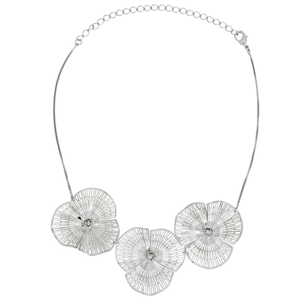Colar Le Diamond Chocker Florisa Ródio Branco