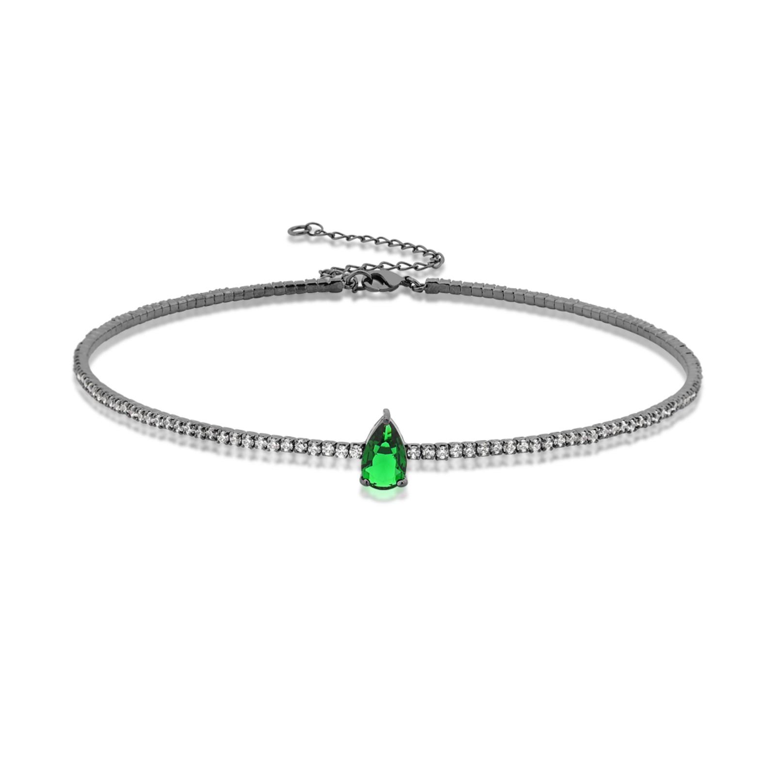 Colar Le Diamond Choker Aro Zircônia com Gota Verde