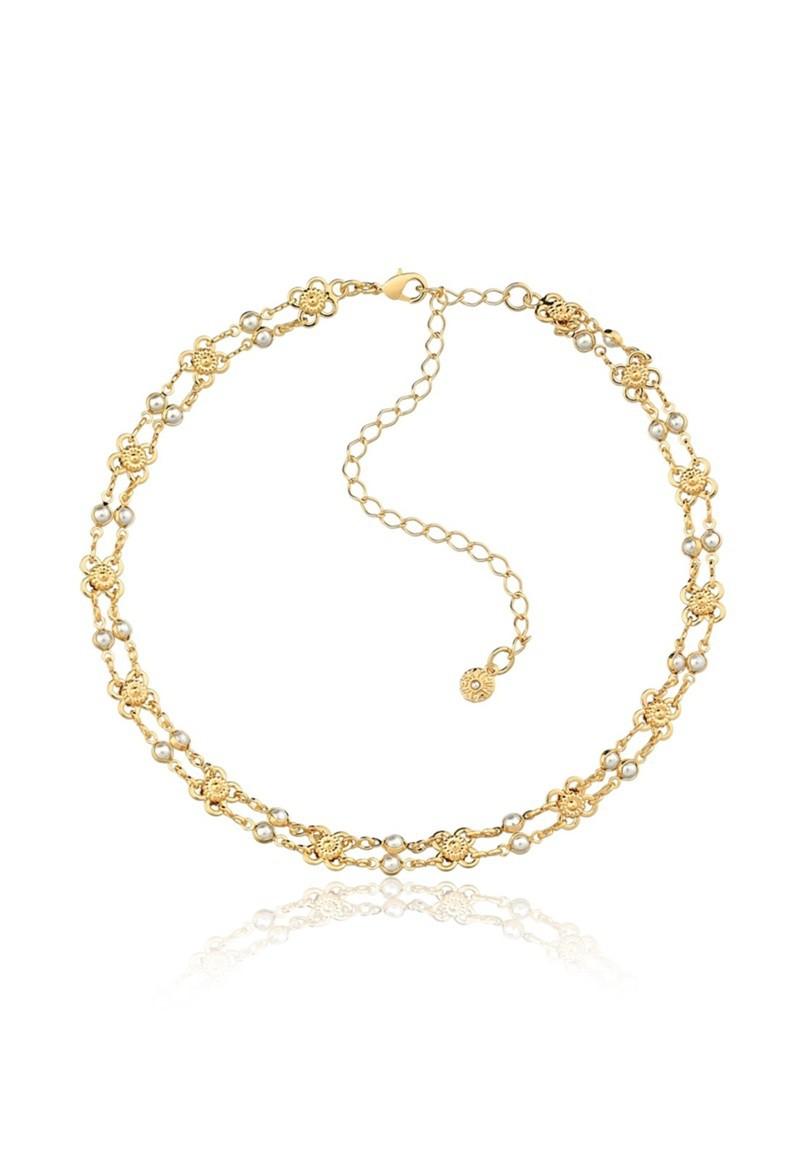 Colar Le Diamond Choker Flor com Mini Pérolas Dourado