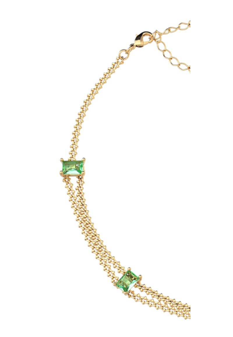 Colar Le Diamond Choker Pedra Facetada Dourado