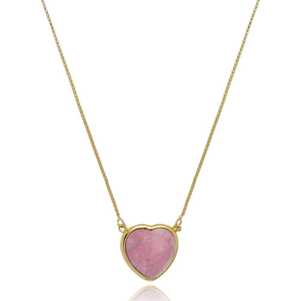 Colar Le Diamond Coração Jaspe Natural Rosa
