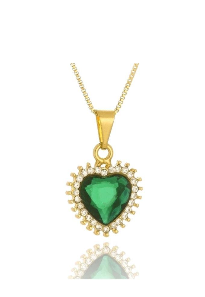 Colar Le Diamond Coração Verde Esmeralda