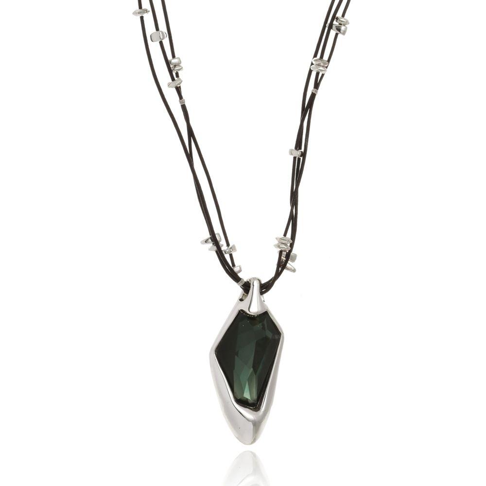 Colar Le Diamond Couro e Pedra Lapidada Verde