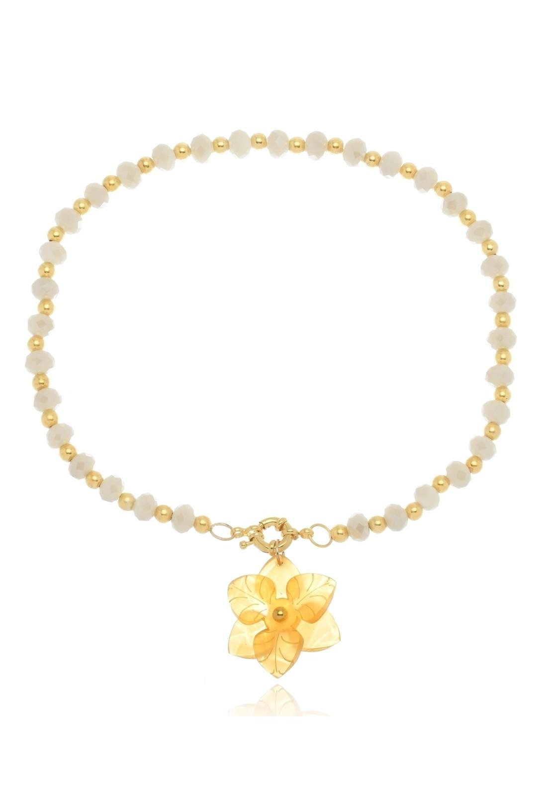 Colar Le Diamond Cristal com Fecho Boia e Camélia Amarela