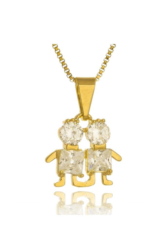 Colar Le Diamond Dois Filhos de Zircônia Dourado