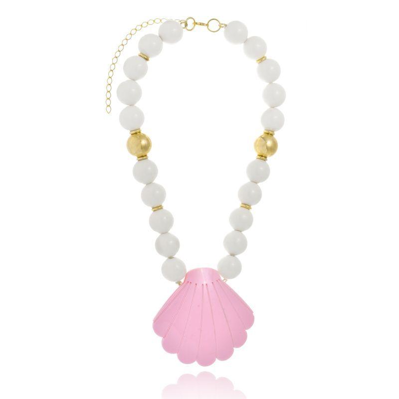Colar Le Diamond Esferas e Concha Rosa e Branco