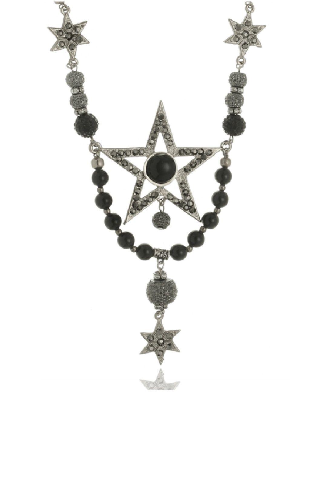 Colar Le Diamond Estrela e Cristais Prateado