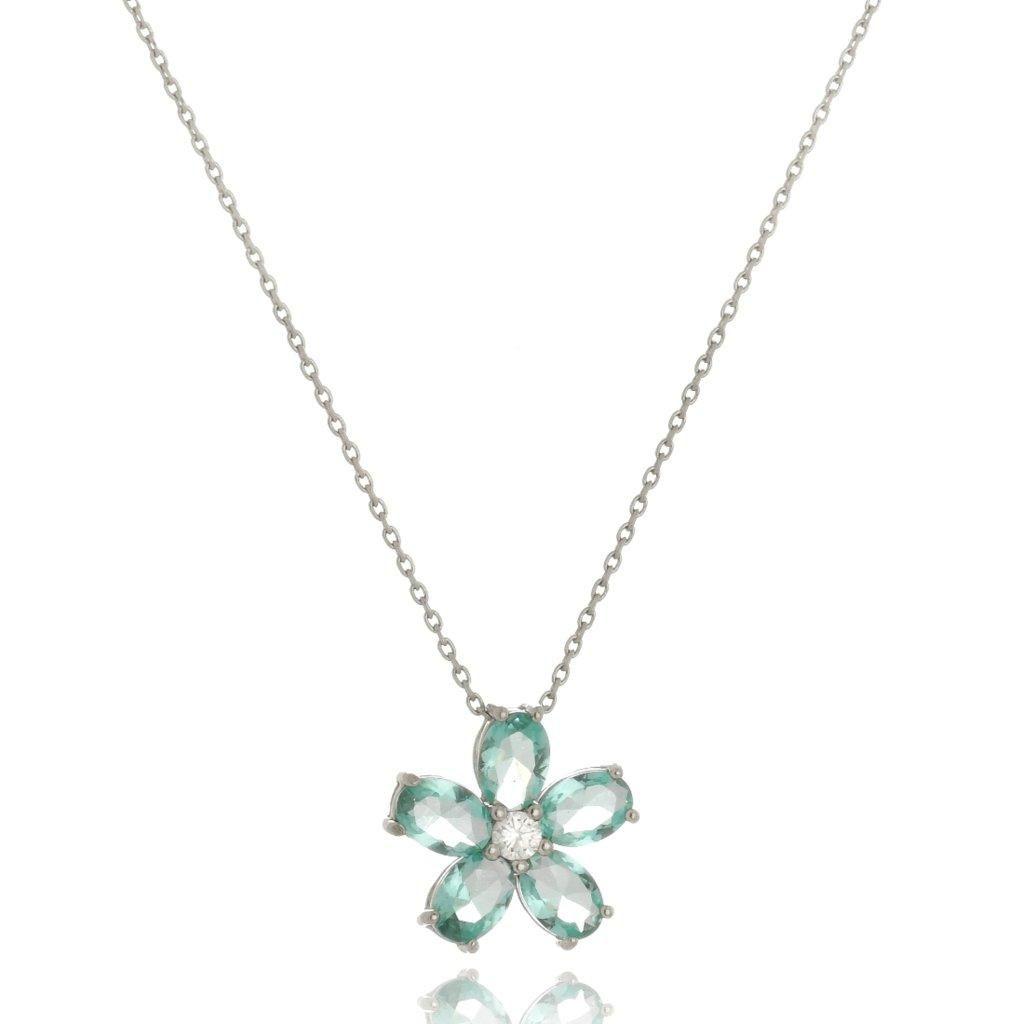 Colar Le Diamond Flor de Cristal Prata