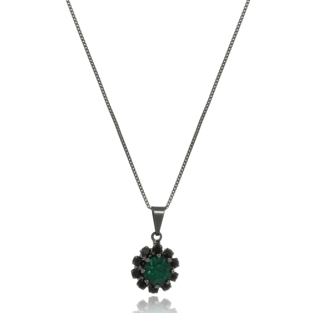 Colar Le Diamond  Flor Verde Esmeralda