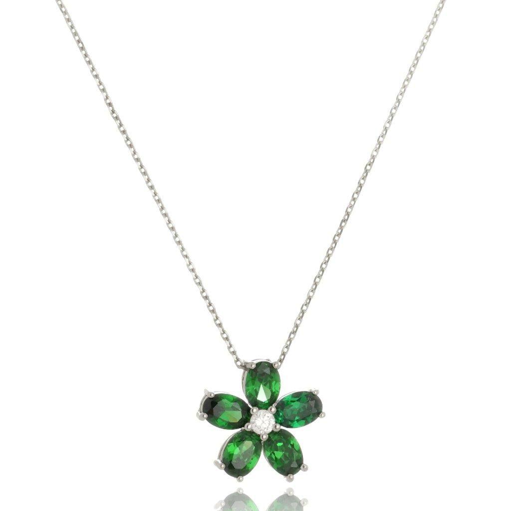 Colar Le Diamond Flor Verde Rubi Prata
