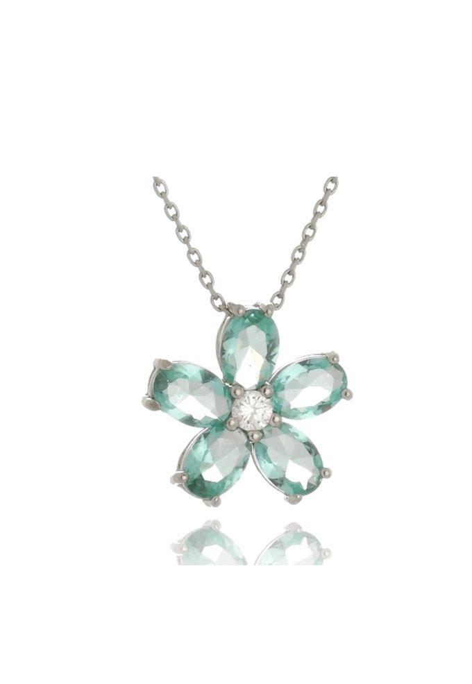 Colar Le Diamond Flor Verde Turmalina