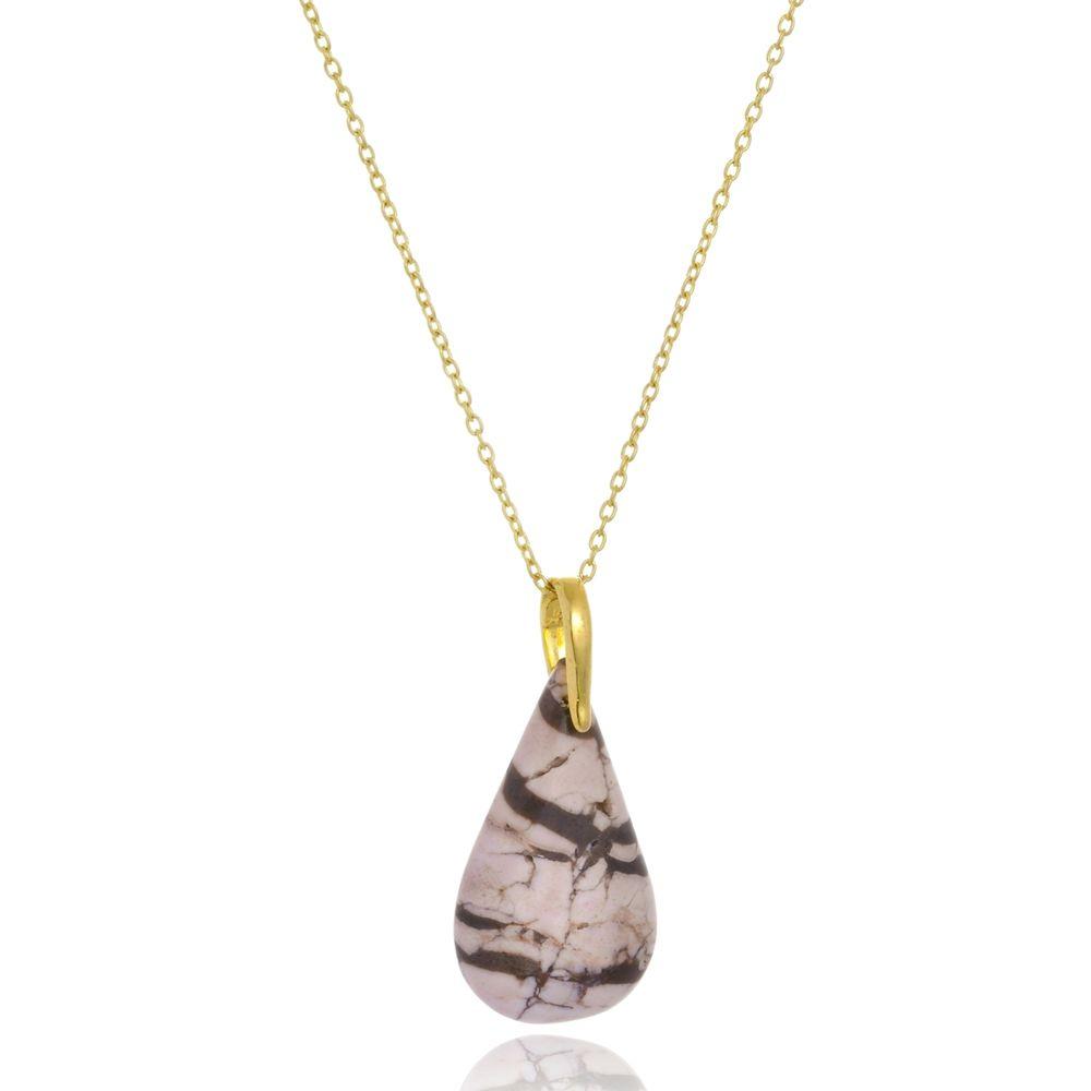 Colar Le Diamond Gota de Pedra Natural