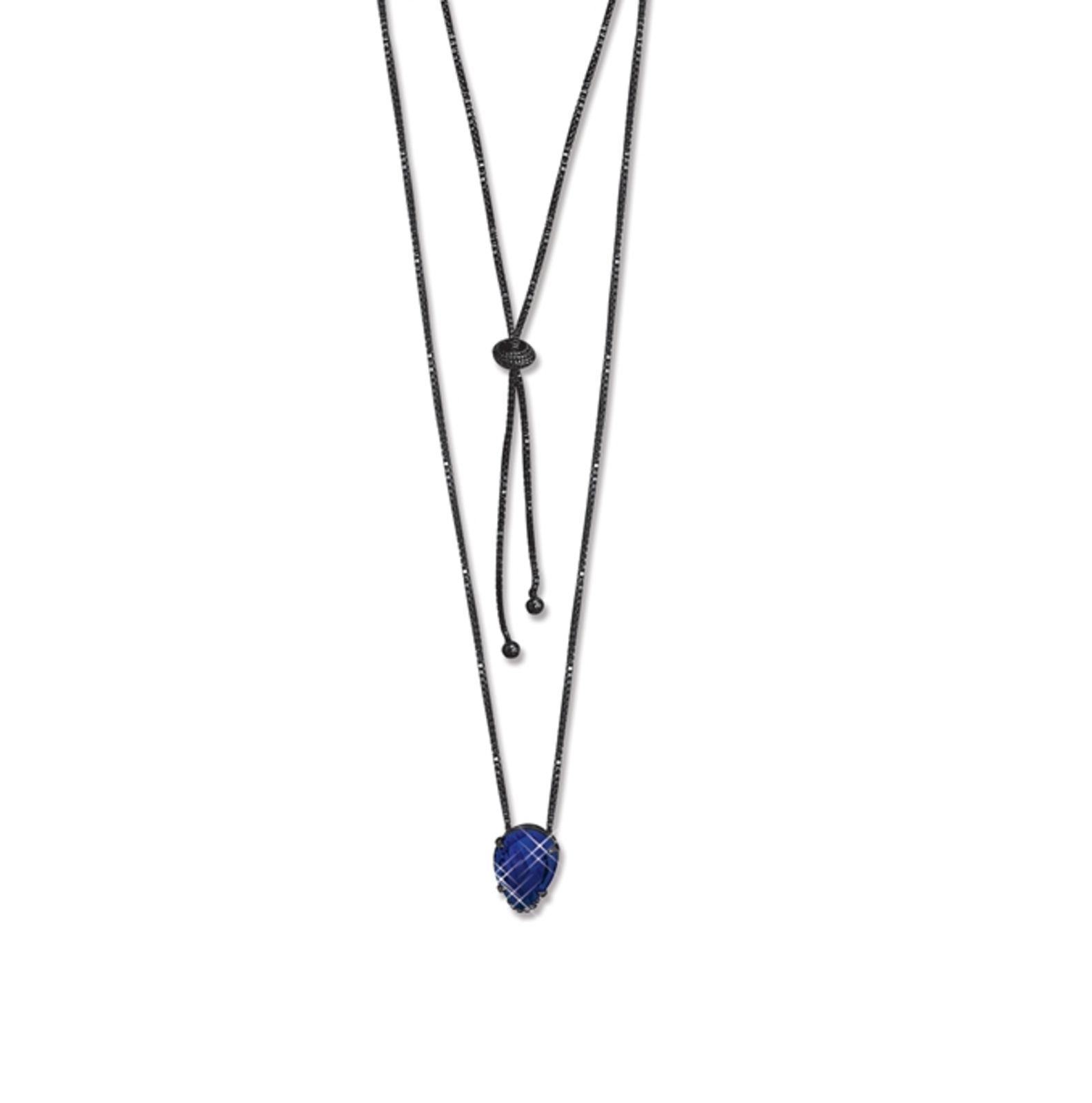 Colar Le Diamond Jo com Cristal Lapidado Ródio Negro