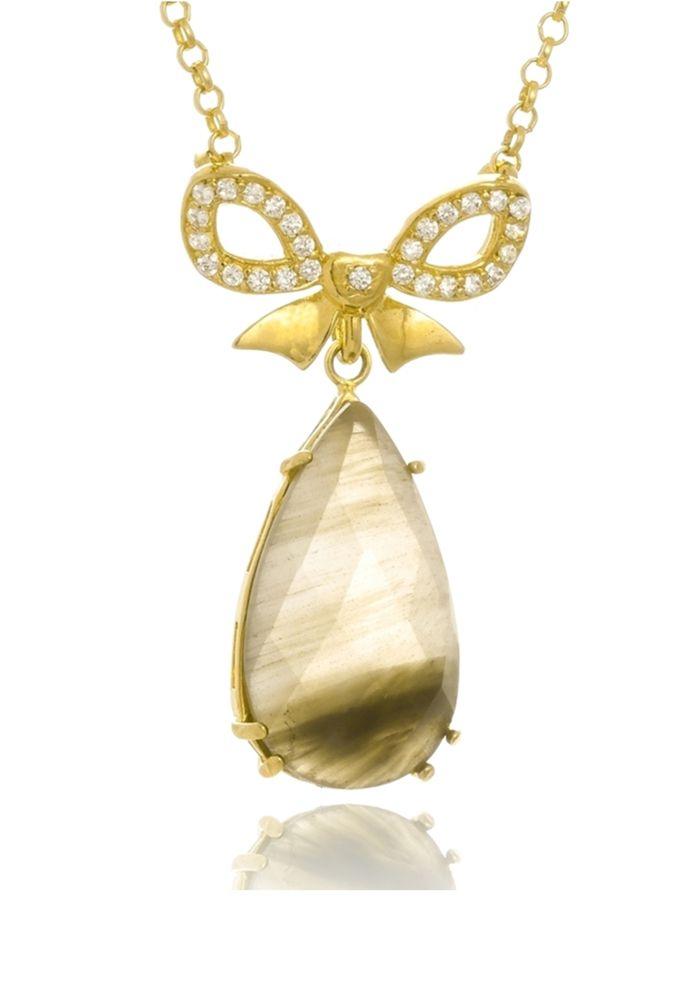 Colar Le Diamond Laço com Pedra Natural Rutilo