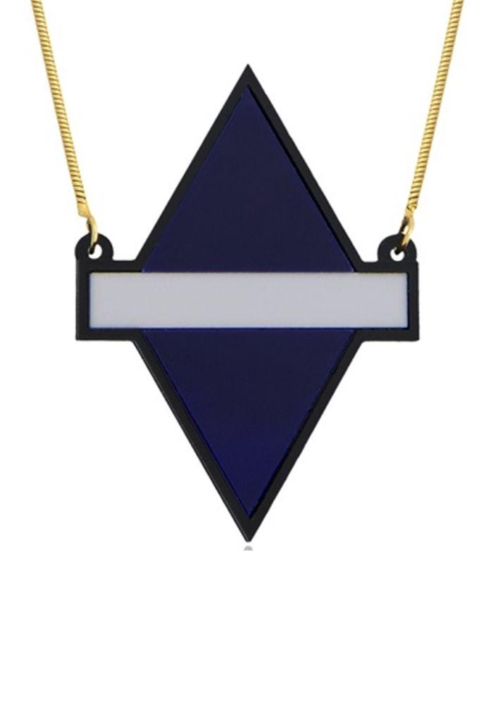 Colar Le Diamond Losango Azul e Cinza