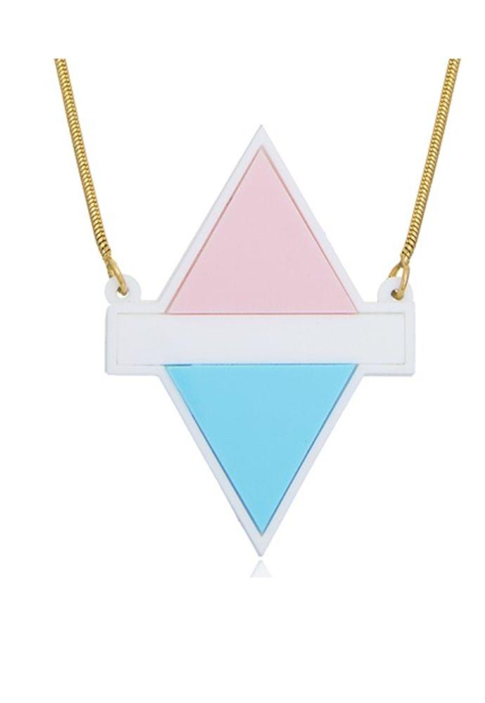 Colar Le Diamond Losango de Acrilico Rosa