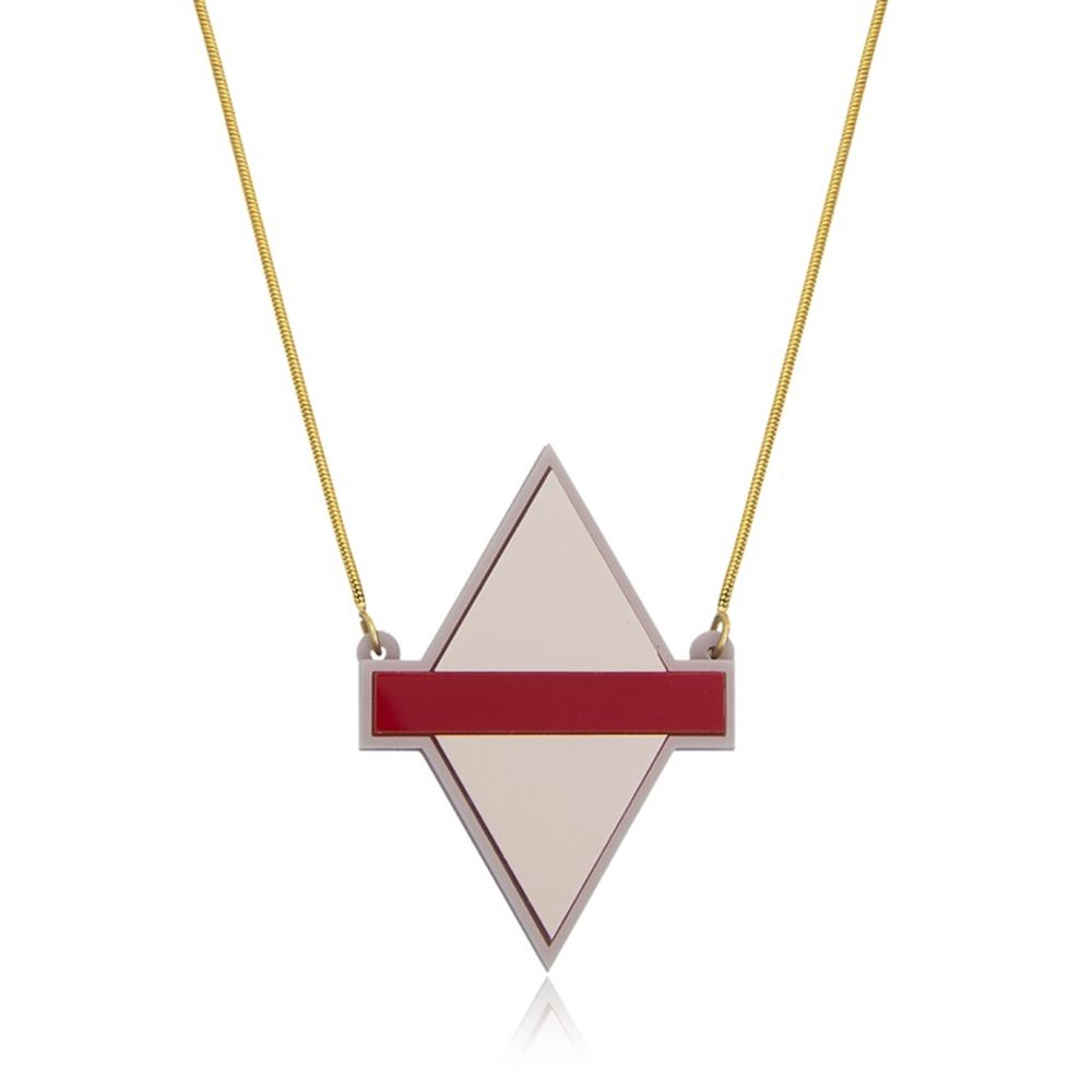 Colar Le Diamond Losango de Acrílico Rosa Velho