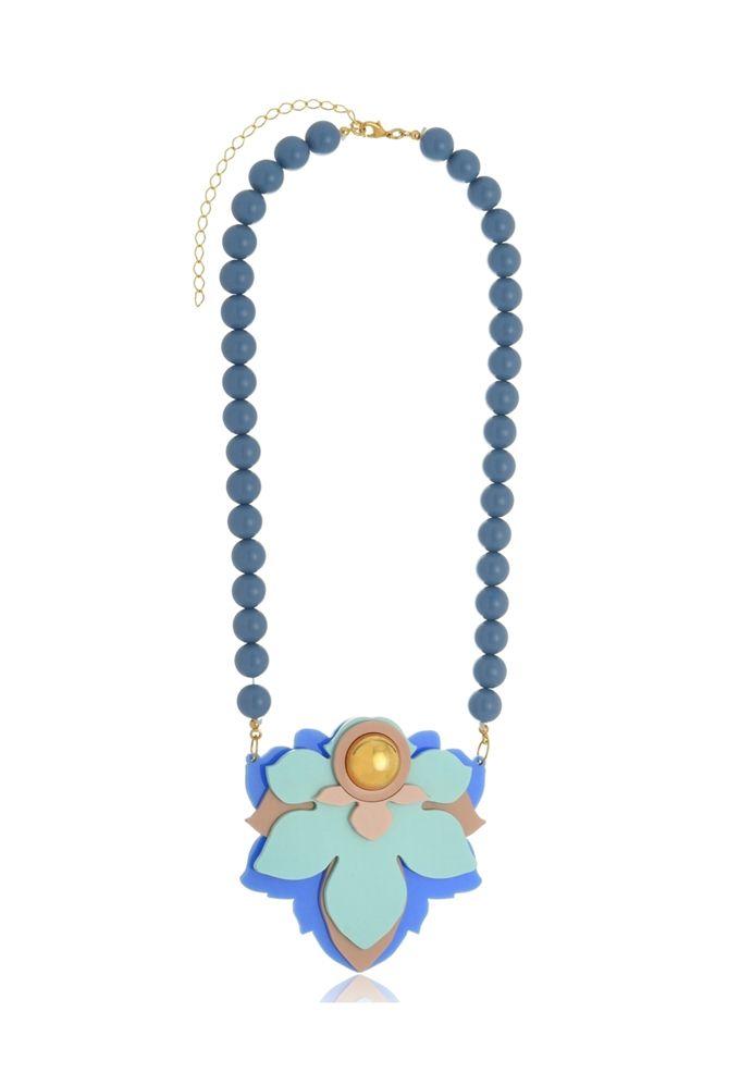 Colar Le Diamond Maia com Resinas Azul