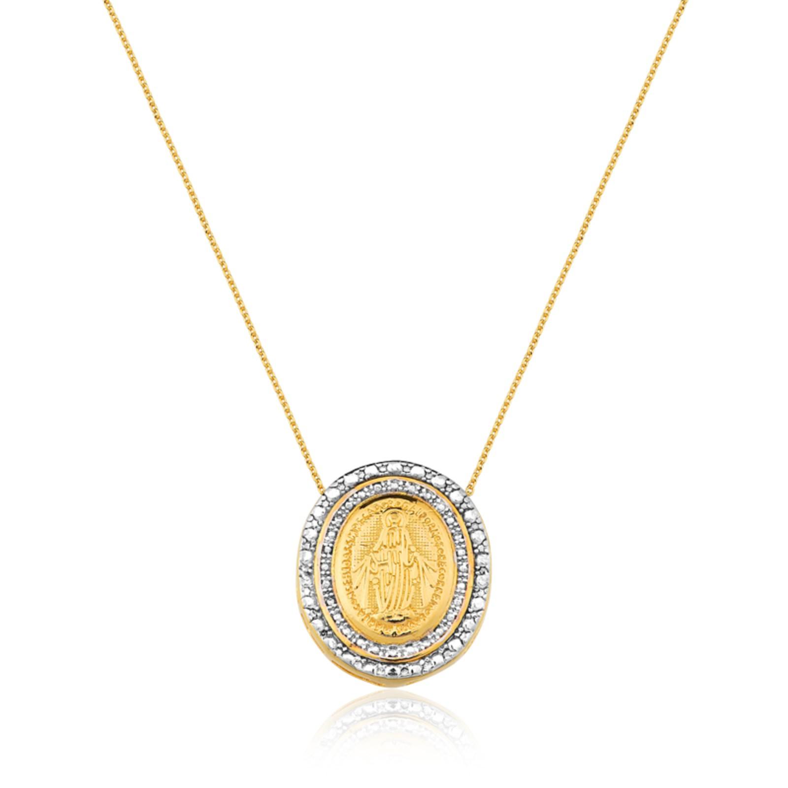 Colar Le Diamond Medalha Nossa Senhora Das Graças Amarelo