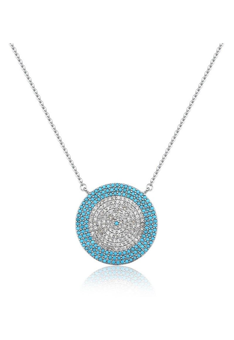 Colar Le Diamond Olho Grego Grande Azul