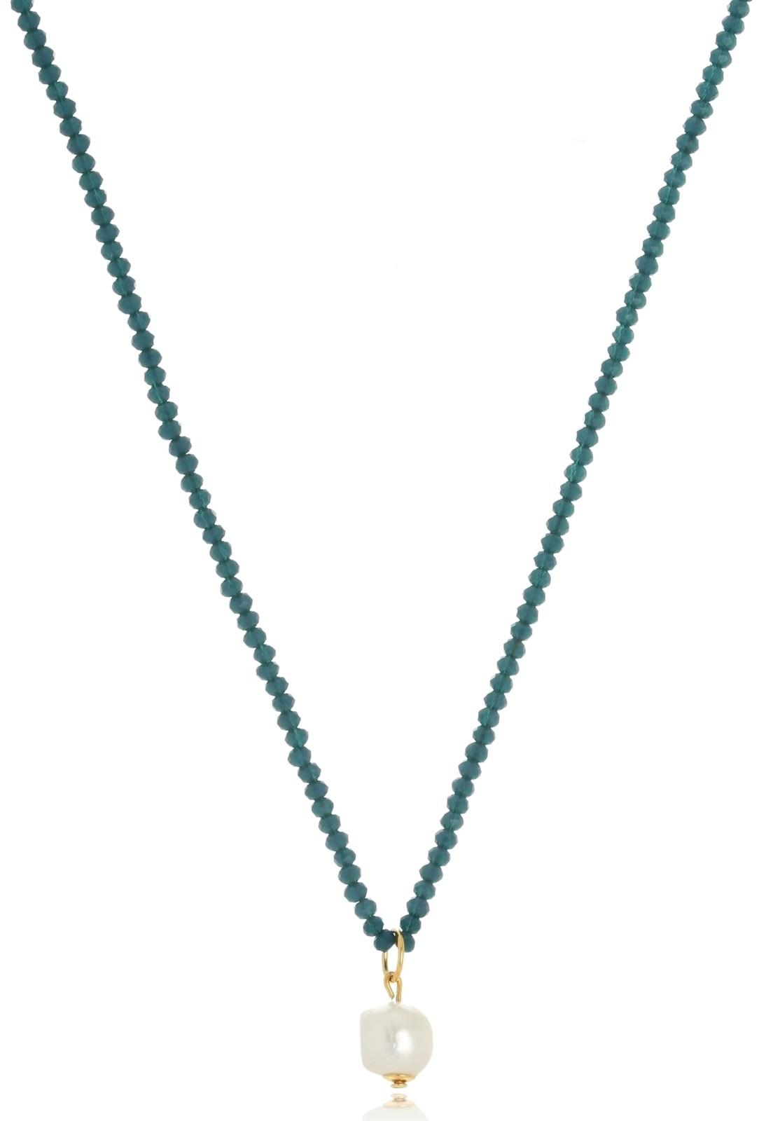 Colar Le Diamond Olimpia Azul Petróleo com Pérola Barroca