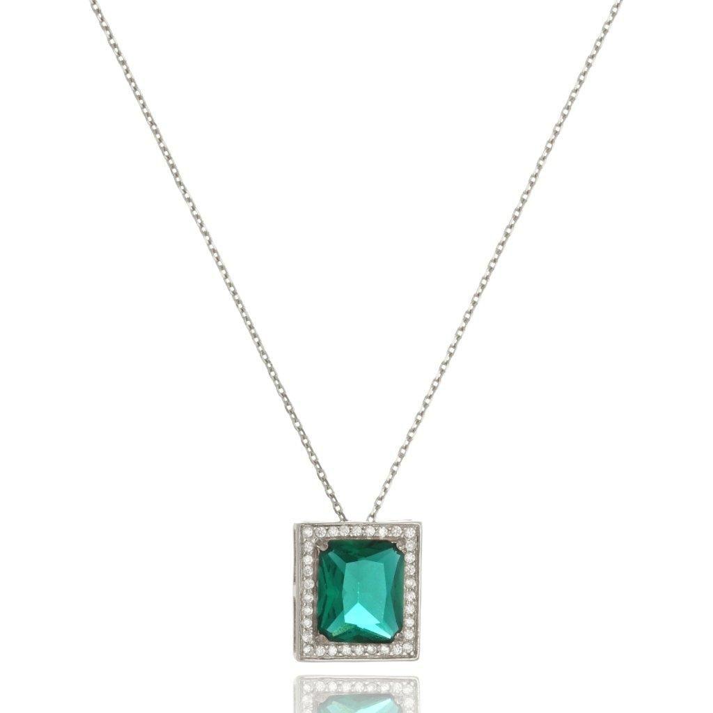 Colar Le Diamond Pedra Cristal lapidada Prata