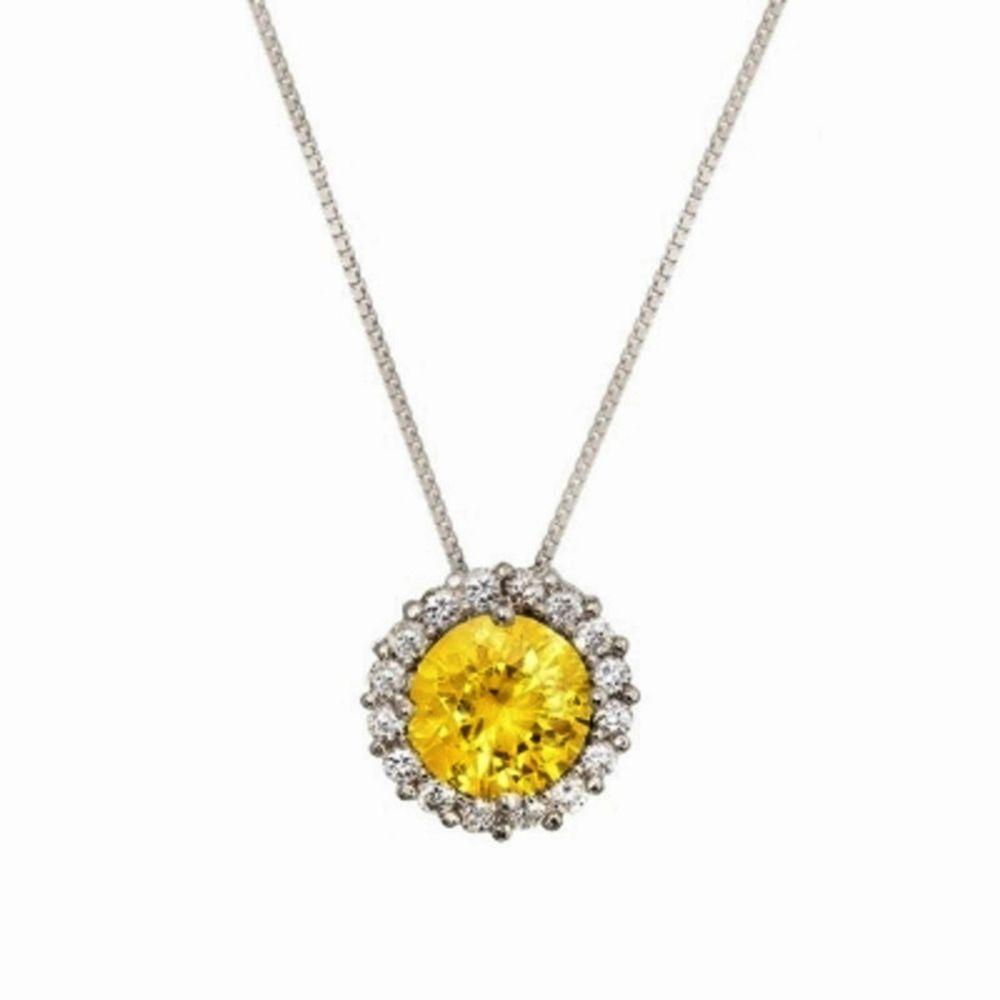Colar Le Diamond Zircônias Amarelo Topázio