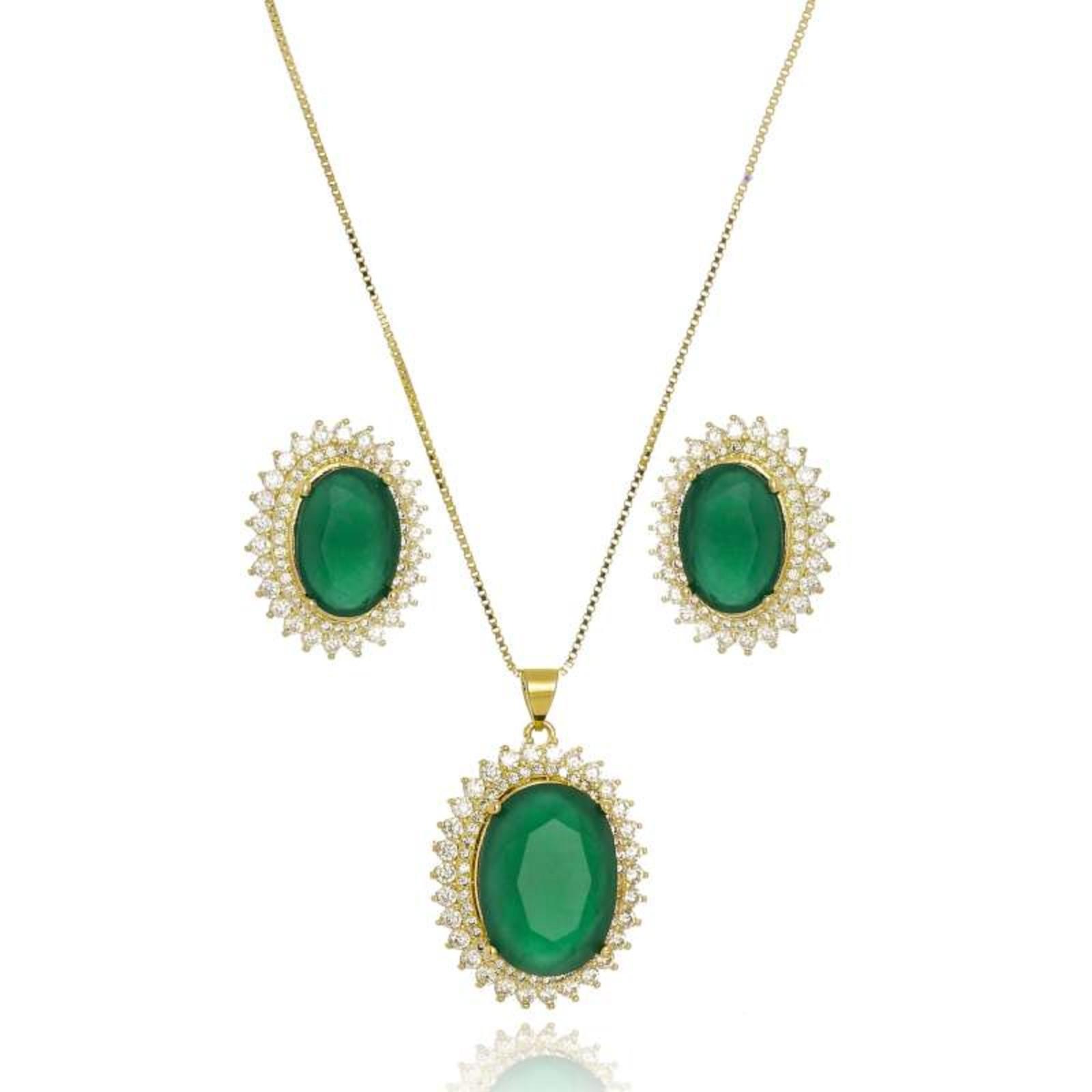 Conjunto Le Diamond Pedra Oval Verde
