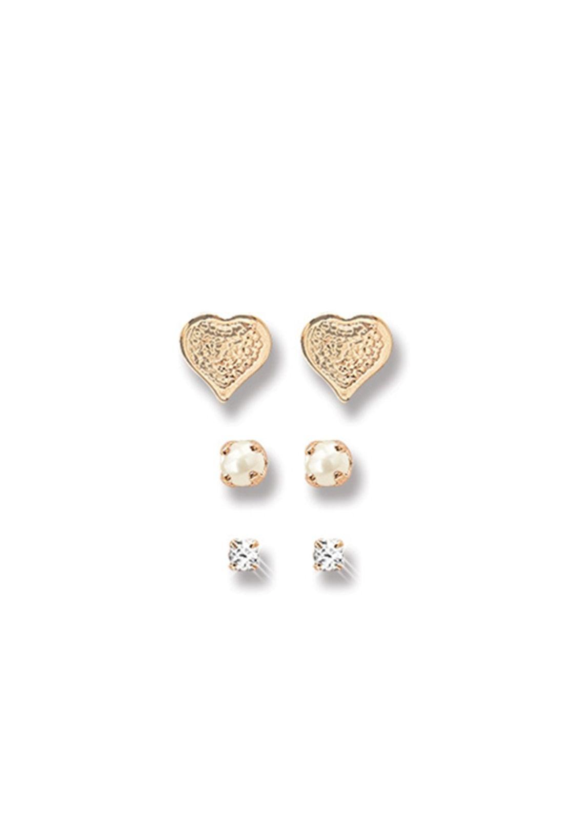 Kit Brincos Le Diamond Coração Pérola e Strass Dourado