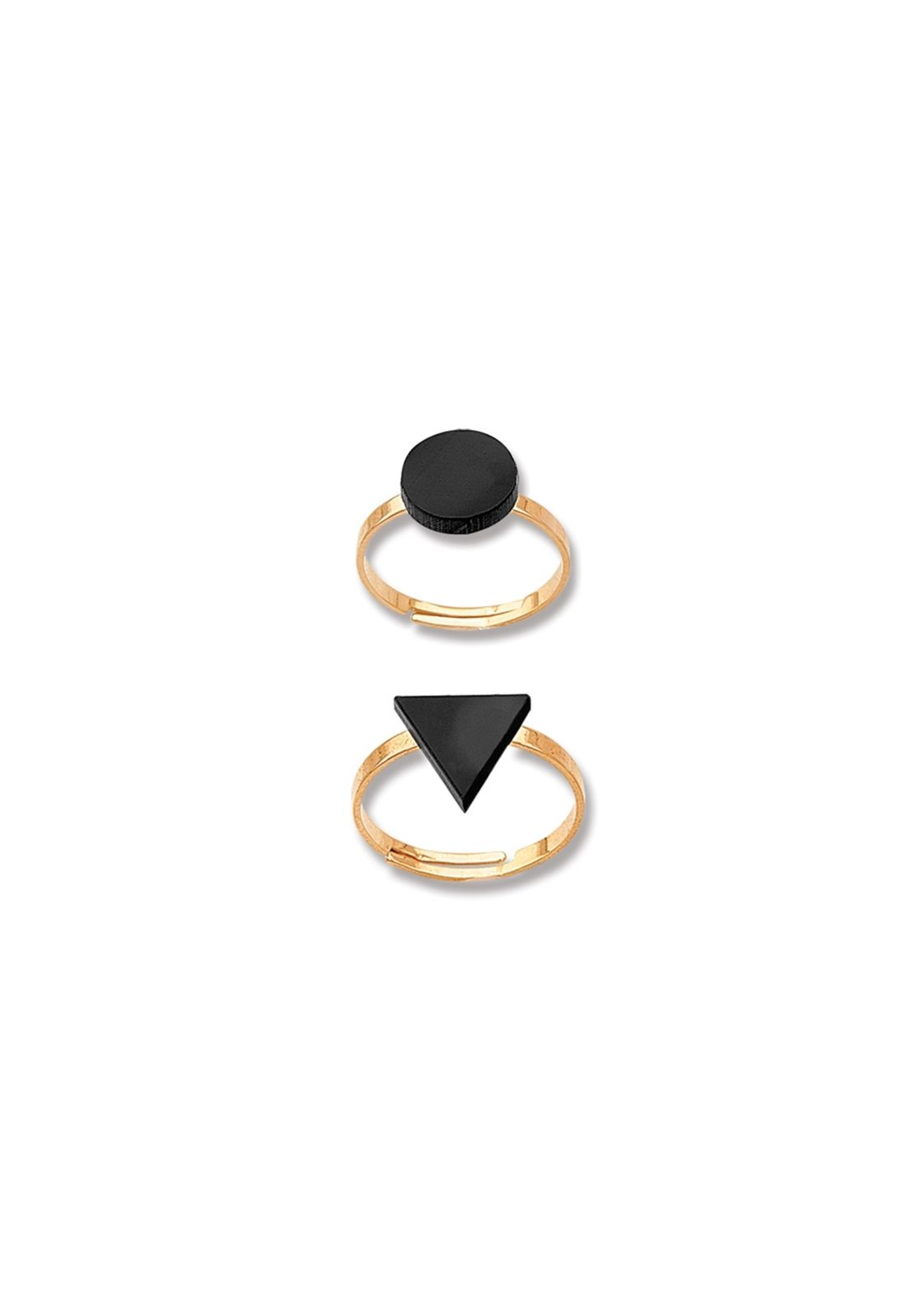 Kit Dois Anéis Le Diamond Formas Geométricas Dourados