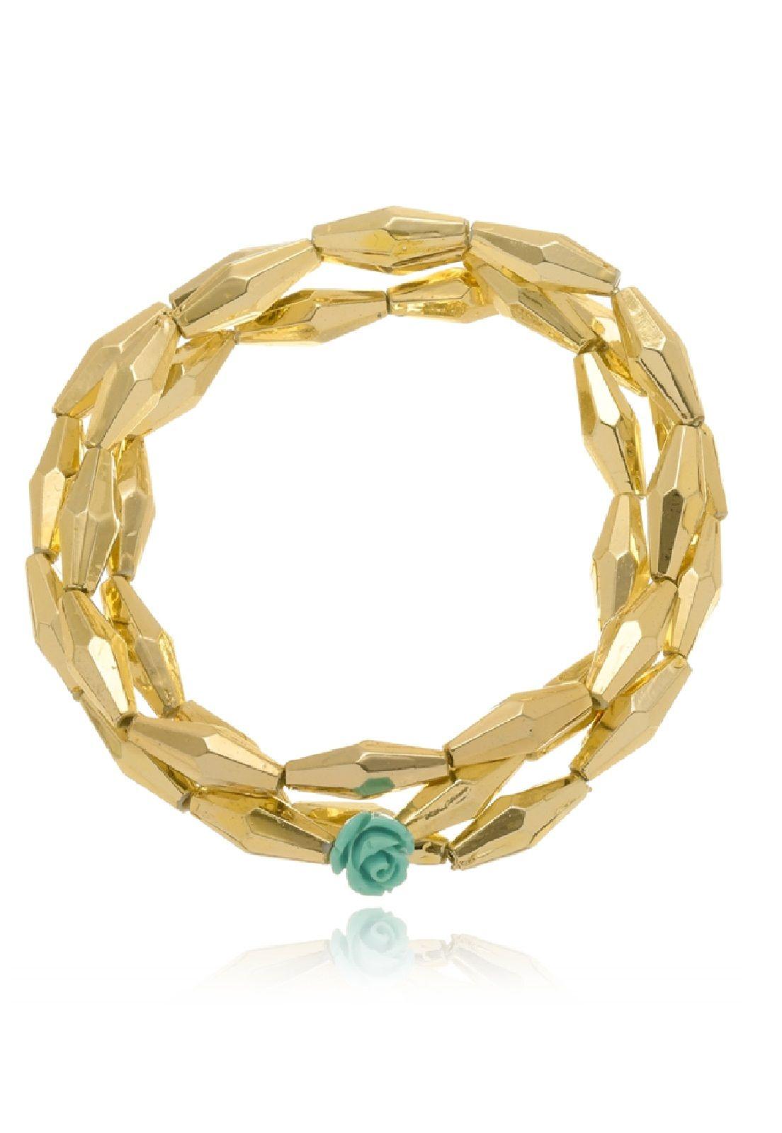 Kit Le Diamond Três Pulseiras de Navetes Dourados