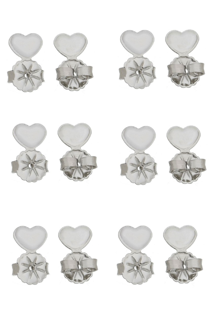 Kit Tarraxa Le Diamond 6 pares Coração Ródio