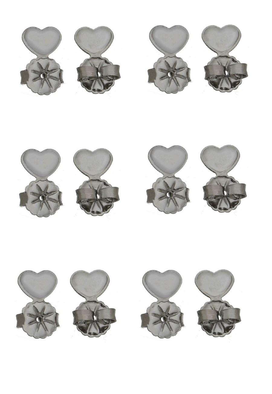 Kit Tarraxa Le Diamond 6 pares Coração Ródio Negro