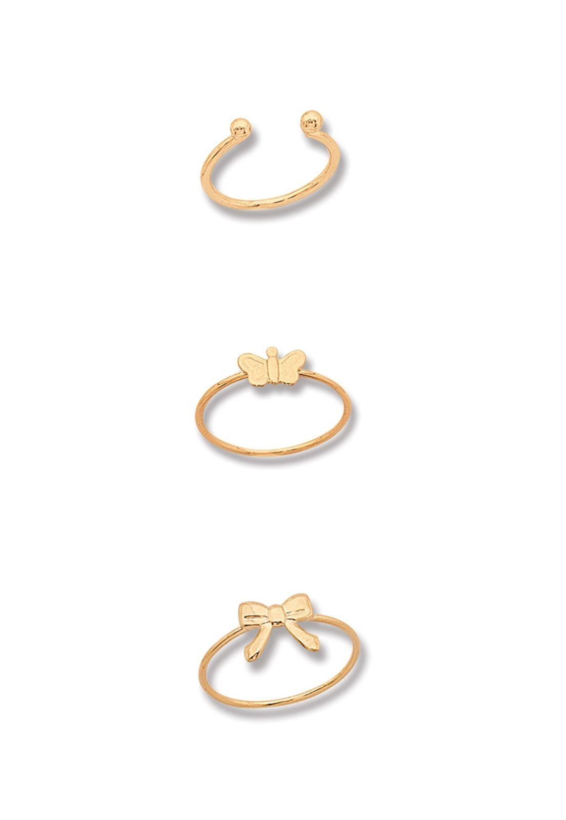 Kit Três Anéis de Falange Le Diamond Dourados